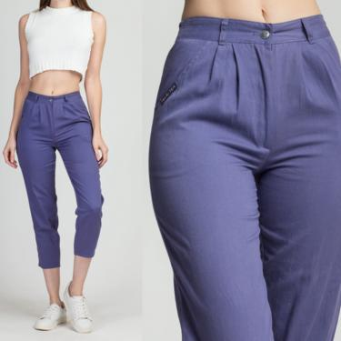 80s Hang Ten Purple High Waist Ankle Pants - Petite XS | Vintage Tapered Leg Plain Pleated Short Trousers by FlyingAppleVintage