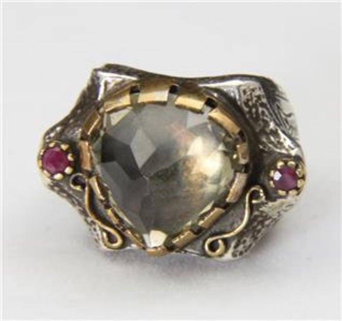 Vintage Large Artisan Smokey Quartz & Ruby Thick Sterling Band Ring Size 9.25 by HouseofVintageOnline
