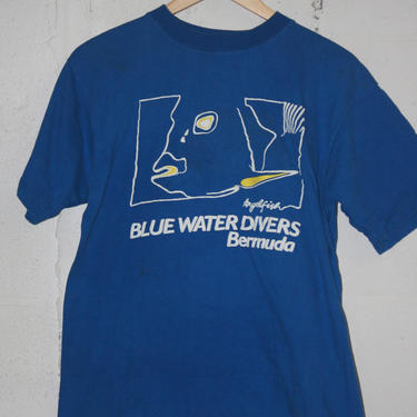 Vintage 80's Blue Water Divers t-shirt. Bermuda. L 1686 by TCWOnline