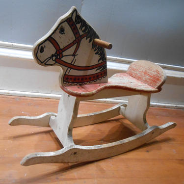 Vintage Wood Rocking Horse Childs Riding Toy Pretend Play Wooden Painted Red White Childs Kids Nursery Decor by kissmyattvintage