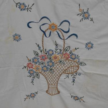 Vintage Hand Embroidered  Table Cover with Flower Basket by kissmyattvintage