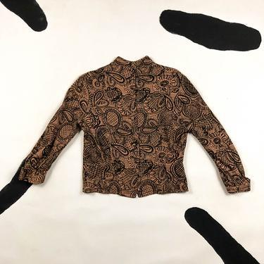 1940s 1950s Herbert Labandter Screen Printed Wool Sweater / Blouse / Swirls / Abstract / Neutrals / Brown / Tan / Pin Up / Medium / Atomic by shoptrashdotnet