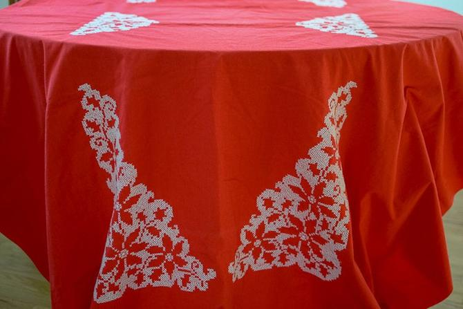 Vintage Rectangle Red Needlepoint Tablecloth by CapitolVintageCharm