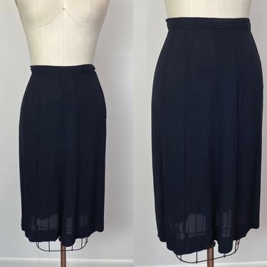 Vintage 1940s Rayon Crepe Skirt 40s Wardrobe Staple Basic Black Skirt by littlestarsvintage