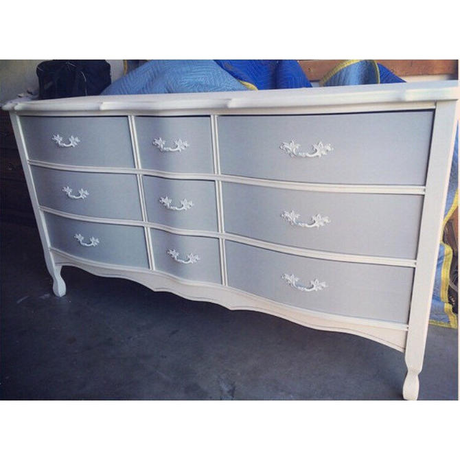Light Blue/Gray 9 drawer French Provincial Dresser/Nightstands/Changing Table/Buffet/Credenza by SimonSaysSalvage