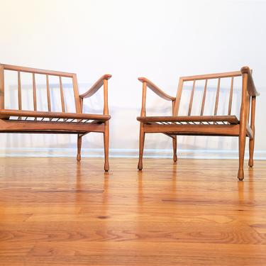 Mid Century Otto Gerdau Pair of Wood Lounge Chairs Made in Italy by ProRefineFurnishings