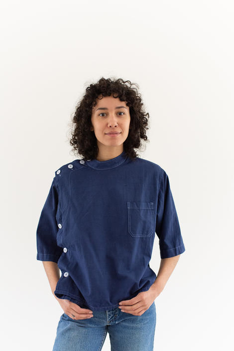 Vintage Overdye Crop Side Button Painter Smock in True Blue | Short Sleeve Studio Tunic Shirt | Artist Smock | M by RAWSONSTUDIO