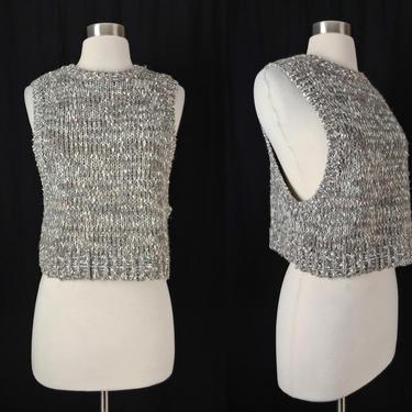 Vintage Eighties Medium Gray Chunky Knit Sleeveless Cropped Sweater - 80s Gray White Sweater Vest by JanetandJaneVintage
