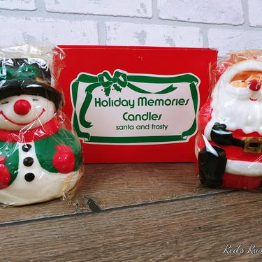 Vintage New Old Stock NOS Holiday Memories Sandta and Frosty Snowman Christmas Candles by RedsRustyRelics