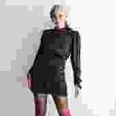 Saloni Patterned Draped Mini Dress, Size 4