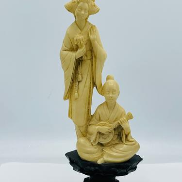 """NORLEANS 10"""" Carved Resin Figurine Asian Woman Boy Playing Sitar Ivory-Look  Wood Stand- Nice Condition by JoAnntiques"""