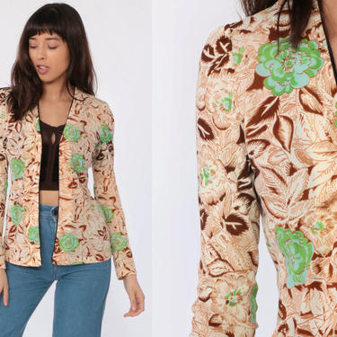 Floral Jacket 70s Boho Blouse Wrap Shirt Puff Sleeve Open Front Blouse 1970s Bohemian Hippie Vintage Brown Green Extra Small xs by ShopExile