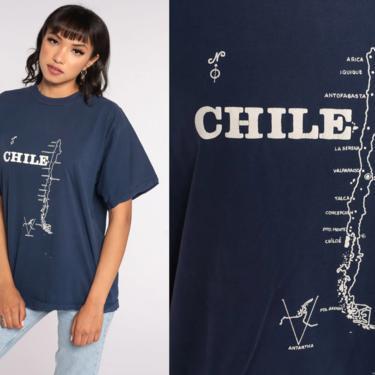 Vintage Chile Shirt Graphic Map TShirt 80s Navy Blue Single Stitch Shirt 80s Travel Tee Souvenir Retro 1980s Shirt Extra Large xl by ShopExile