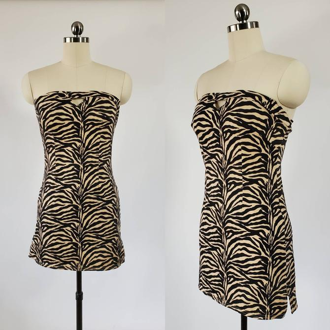 1990s Charlotte Russe Animal Print Mini Dress 90s Stretchy Tube Dress 90's Women's Vintage Size Small by HeySailorNiceVintage