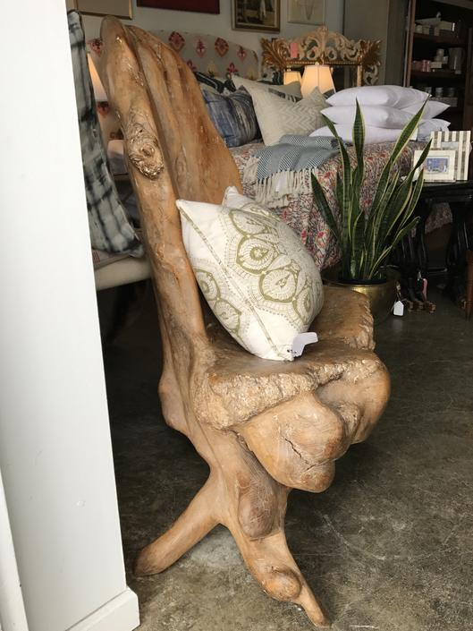 SOLD - Vintage Olive Tree root wood carved chair