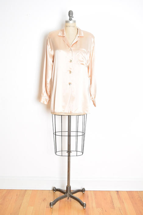 cde31630c0fb93 vintage 90s silk shirt champagne nude satin blouse top button up over sized  shirt by huncamuncavintage