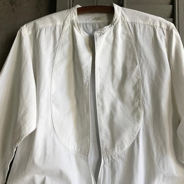Antique Mens Formal White Dress Shirt, French Cuff, by Arrow, Original Label, Edwardian Formal Wear, Period Clothing by JansVintageStuff
