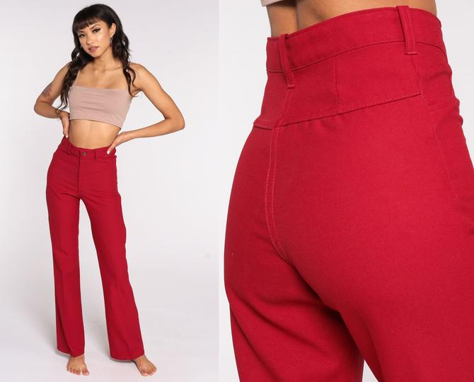 70s Bell Bottoms Pants -- Boho Hippie Bellbottom Red Trousers High Waist 1970s Vintage Bohemian Trousers Small xs s by ShopExile