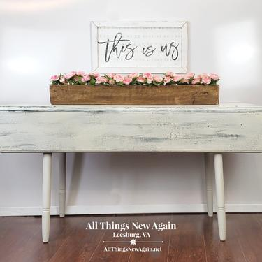 Farmhouse Table | White Table | Drop Leaf Table | Farmhouse Dining Table | Farmhouse Sofa Table | Rustic Farmhouse Furniture | Rustic Table by AllThingsNewAgainVA