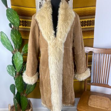 Vintage 1990s does 70s Soft Suede Penny Land Style Duster Jacket Women's XL by DesertCactusVintage