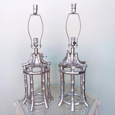 Pair of Faux Bamboo Pagoda Lamps