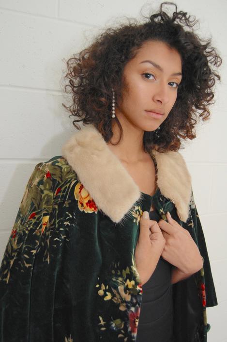 Vintage 1960s Floral Print Velvet Coat with Mink Collar