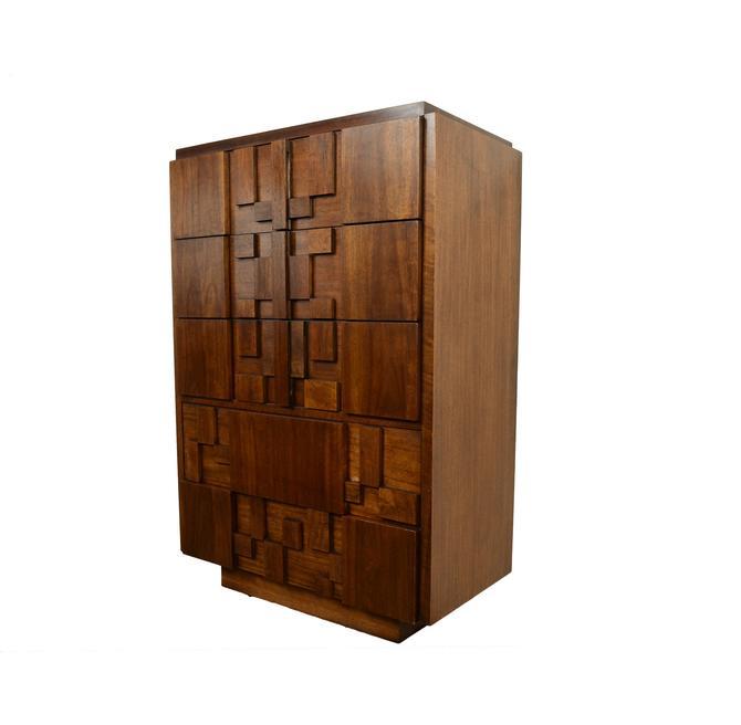 Lane Walnut Tall Dresser Brutalist Paul Evans Inspired Mid Century Modern by HearthsideHome