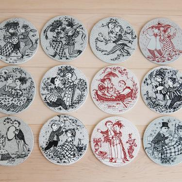 Set of 12 Scandinavian Modern Bjorn Wiinblad Months Wall Hanging Plaques Plate for Nymolle Made in Denmark by MidCentury55
