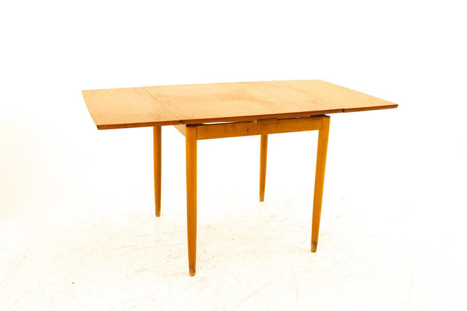 Mid Century Small Teak Hidden Leaf Dining Table - mcm by ModernHill