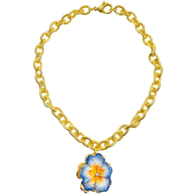 The Pink Reef cornflower blue and yellow pansy necklace