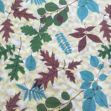 Vintage 1950's Barkcloth Fabric / 60s Novelty Leaf Print 9 Yards by SilhouettetsyVintage