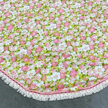 Vintage Bedspread 1960s Retro Size 106x90 Bohemian + Floral Print + Pink, White, Green + Rounded Corners + Fringe + Bedding + Coverlet by RetrospectVintage215