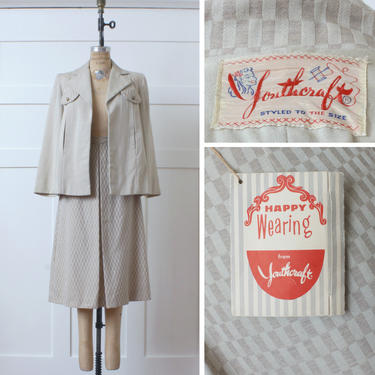 rare vintage 1940s NWT womens two piece youthcraft suit • oatmeal wool swing jacket & matched skirt un-worn by LivingThreadsVintage