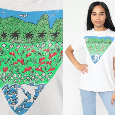 Hawaii Dolphin Shirt 80s PALM TREE Shirt Beach 1980s Graphic T shirt Retro Tee Tropical Shirt Earth Vintage Single Stitch Small Medium by ShopExile