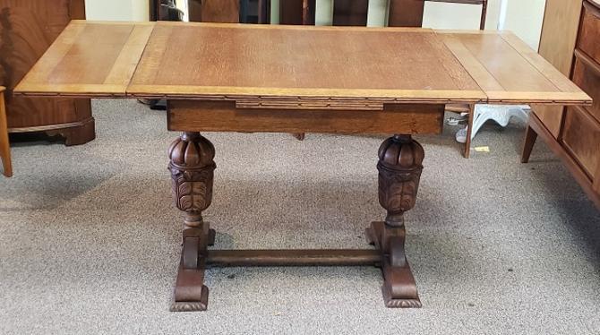 Item #R104 English Oak Draw Leaf Dining Table c.1940s