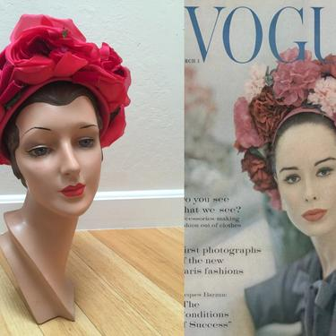 Do You See What She Sees? - Vintage 1960s Massive Hot Fuchsia Pink Red Roses Floral Dome Hat by RoadsLessTravelled2