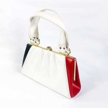 1960s White Faux Leather Purse   60s Red White Blue Handbag by GlennasVintageShop