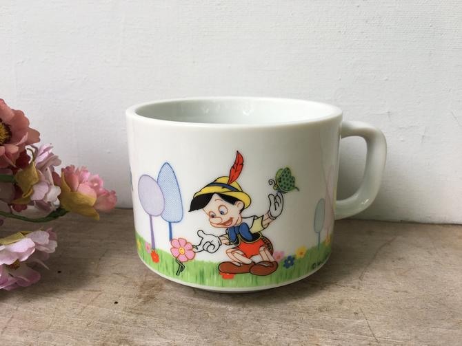 Vintage 70s Pinocchio Coffee Cup, Walt Disney Productions, Character Coffee Mug Tea Cup, Made In Japan by luckduck