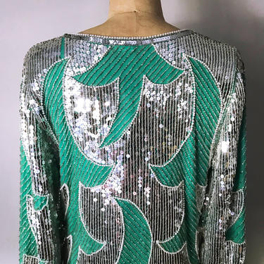 Vintage 80s 100% Silk Lined Handmade in India Sequins Party Dress by LucileVintage