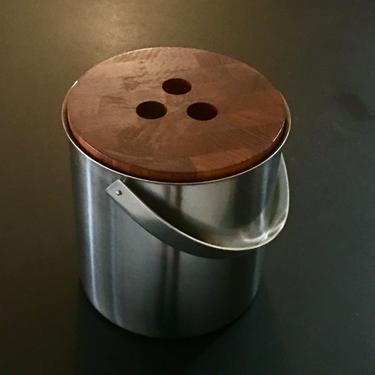 Vintage Mid Century Modern Stelton Stainless Teak Covered Ice Bucket Denmark by modern2120