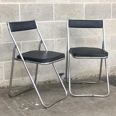 Vintage Folding Chairs Retro 1960s Mid Century Modern + Nevco + Set of 2 + Silver Metal Frames + Black Vinyl + MCM Dining Chairs + Seating by RetrospectVintage215