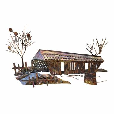 READY 1970s Vintage Brutalist Copper Covered Bridge Metal Wall Sculpture in the Style of Curtis Jere