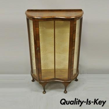 Antique German Art Deco Burl Walnut Zebra Wood Small Glass Curio Display Cabinet