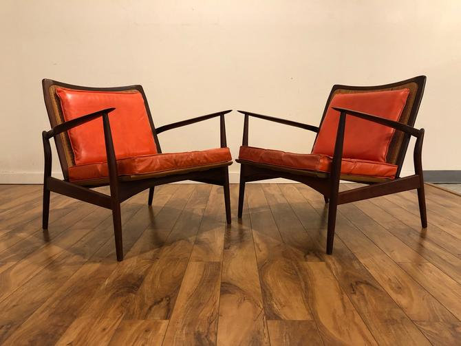 Ib Kofod Larsen Mid Century Spear Chairs With Cane Backs, Made in Denmark - A Pair by Vintagefurnitureetc