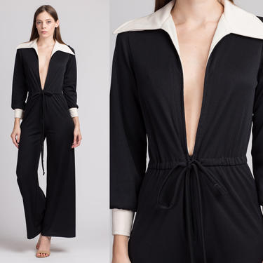 70s Mod Black & White Deep V Jumpsuit - Small to Medium | Vintage Two Tone Bell Bottom Flared Leg Disco Pantsuit by FlyingAppleVintage