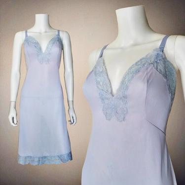 Vintage 50s Blue Full Slip, Large / Lace Slip Dress / Vintage Pinup Lingerie / Silky 1960s Nylon Dress Slip / Floral Lace Plunging Bust by SoughtClothier