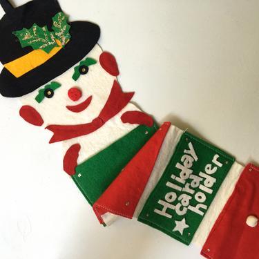Vintage Felt Snowman Christmas Card Holder, Hanging Felt Card Holder, Hand Made, Frosty Snowman Holiday Card Holder by luckduck