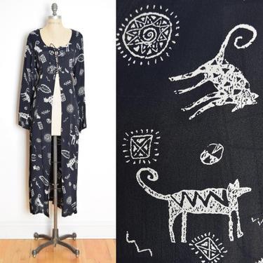 vintage 90s duster jacket black CATS & DOGS print long corset lace up dress L clothing by huncamuncavintage