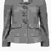 Rebcca Taylor - Grey Cropped Jacket w/ Rosette Buttons Sz 6
