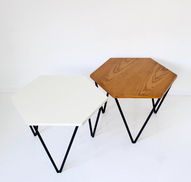 Gio Ponti Italian Coffee or Side Table by I.S.A. Italia Circa 1950 In Oak Wood and White Laminate
